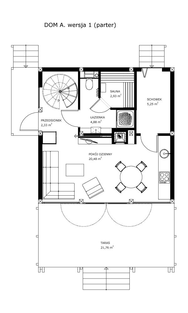 Dom A, wersja 1 (parter)
