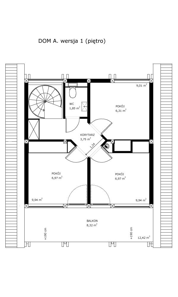 Dom A, wersja 1 (piętro)