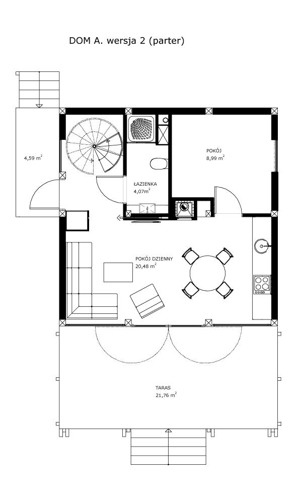 Dom A, wersja 2 (parter)