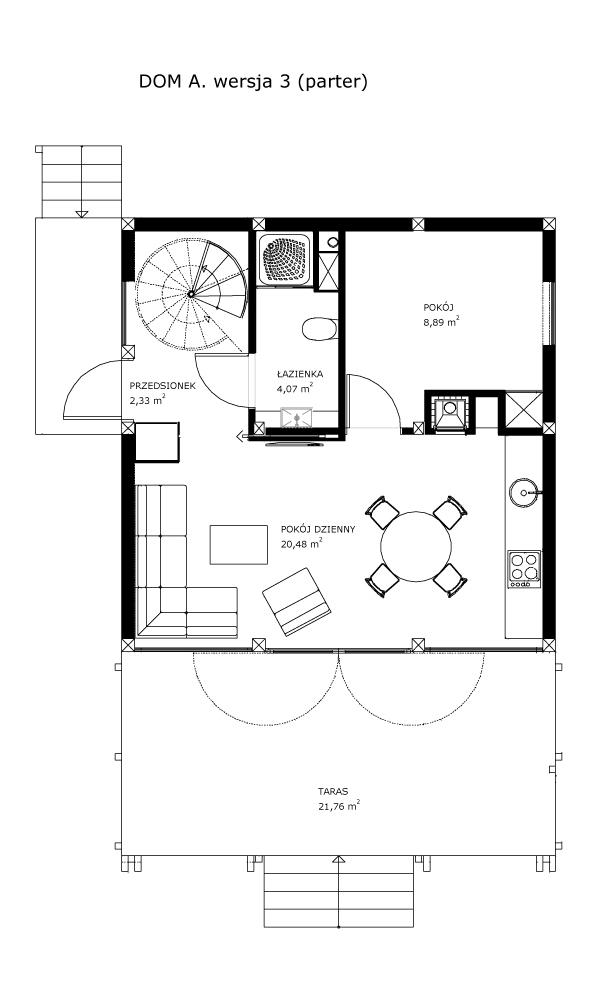 Dom A, wersja 3 (parter)