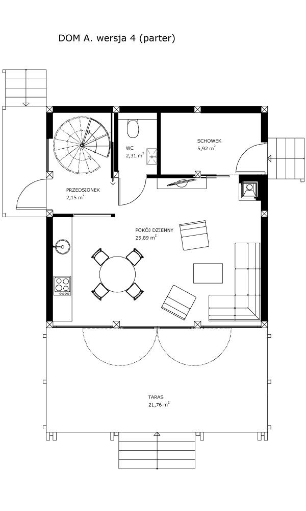 Dom A, wersja 4 (parter)