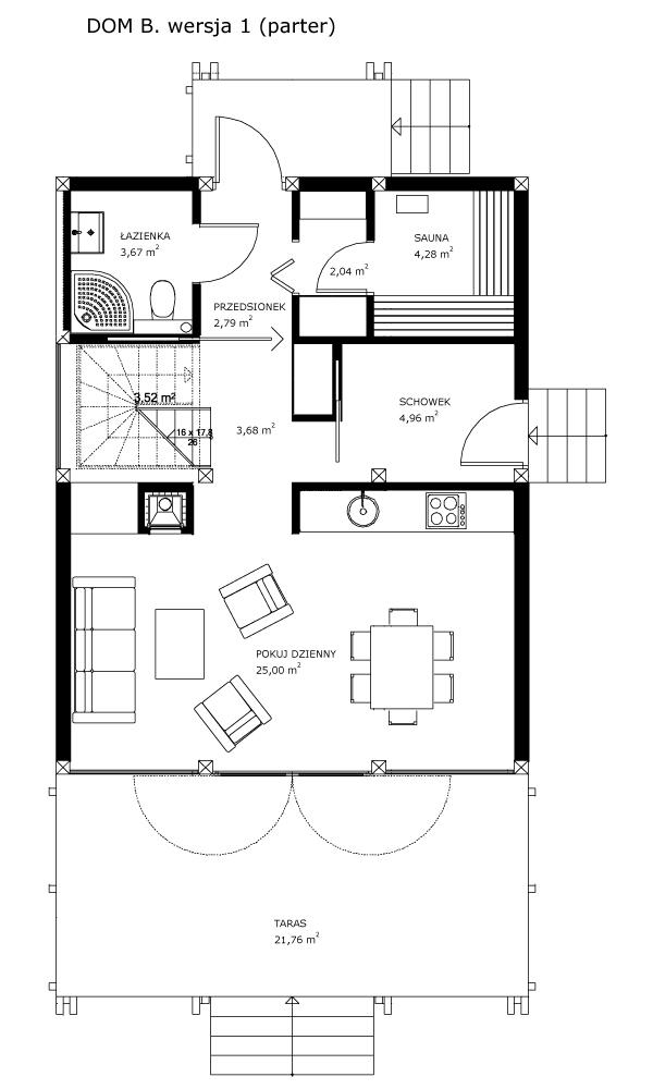 Dom B, wersja 1 (parter)