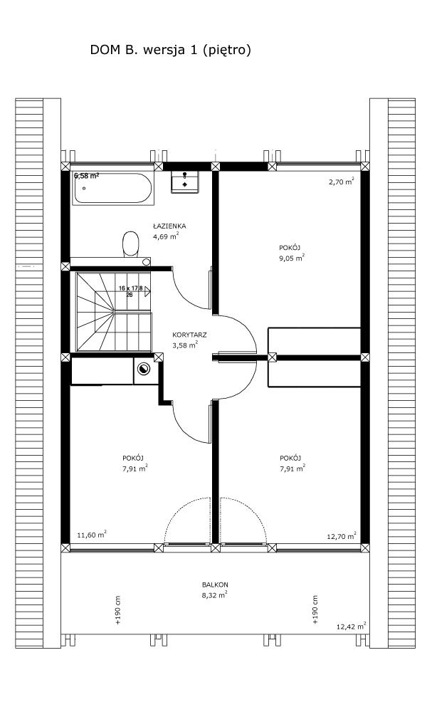Dom B, wersja 1 (piętro)