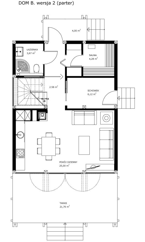 Dom B, wersja 2 (parter)