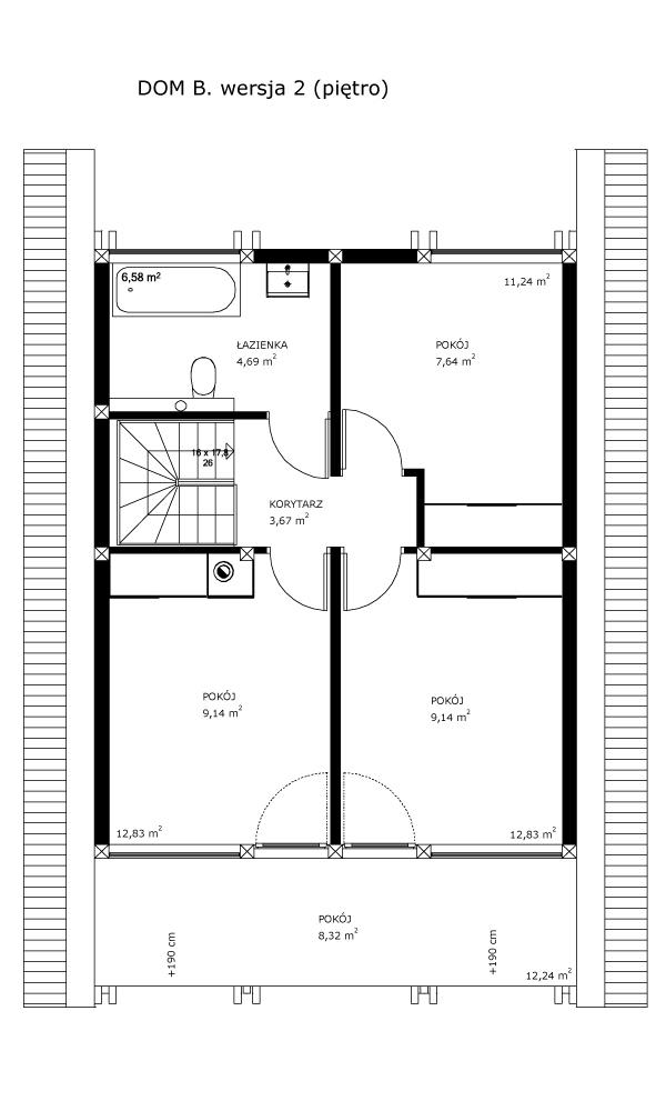 Dom B, wersja 2 (piętro)