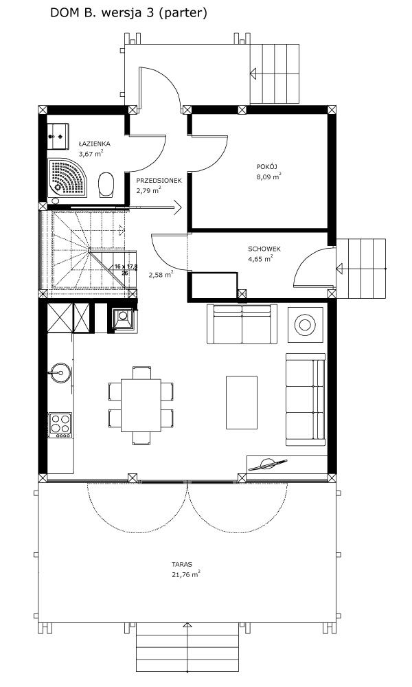 Dom B, wersja 3 (parter)