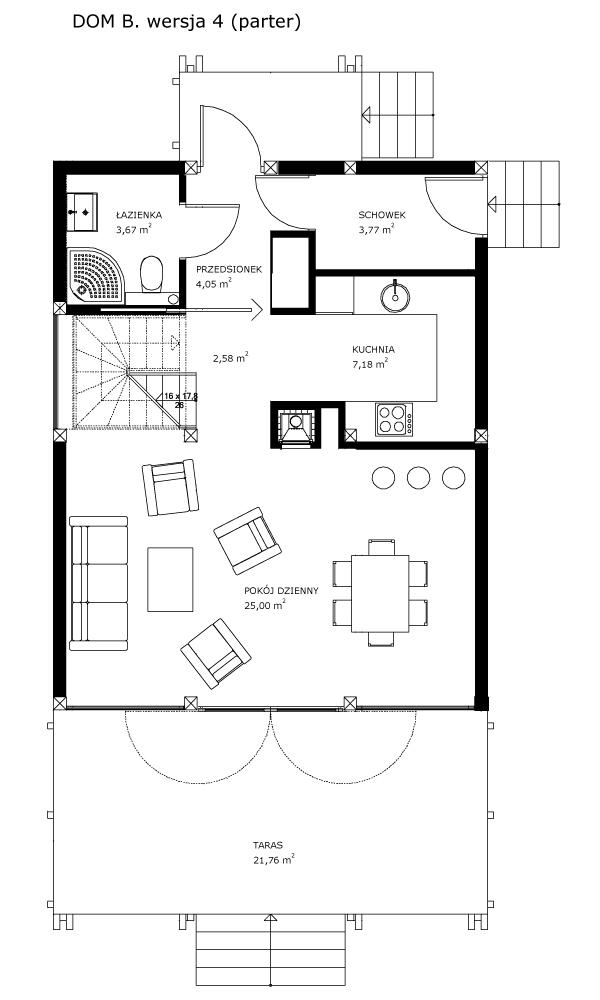 Dom B, wersja 4 (parter)