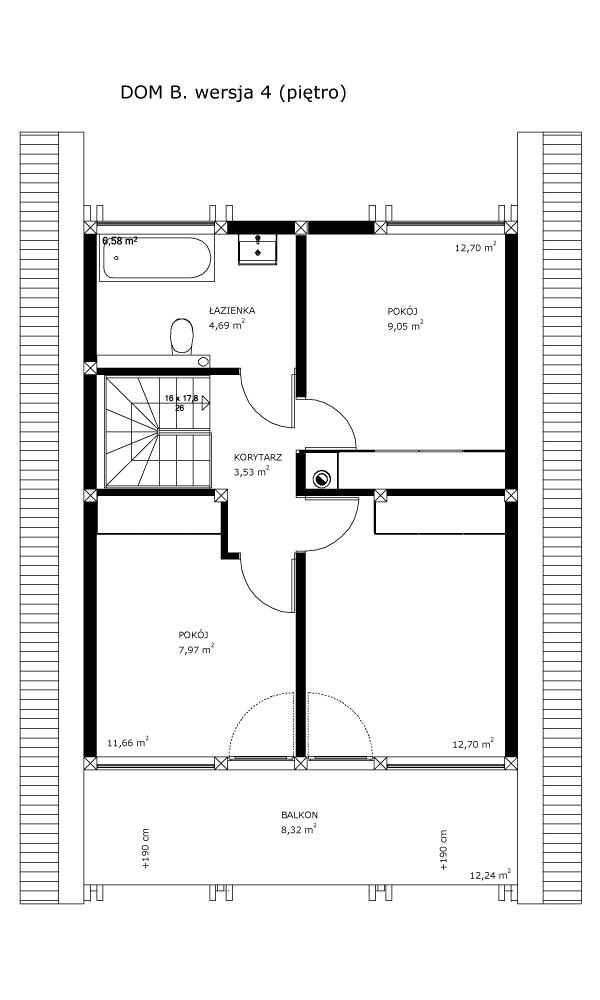 Dom B, wersja 4 (piętro)